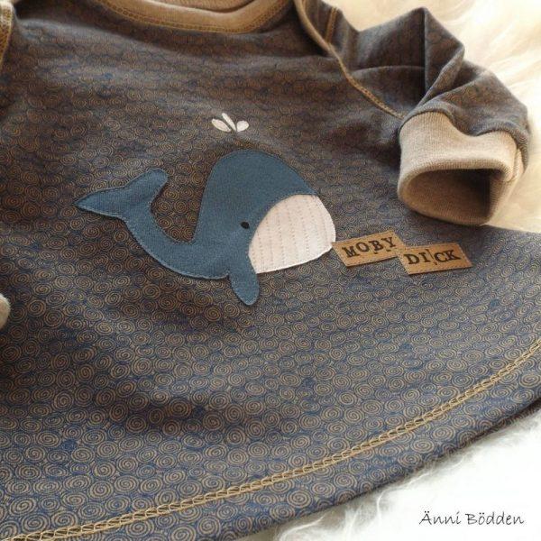 Kleiner Wal genäht nach der Applikationsvorlage von Lange Hand