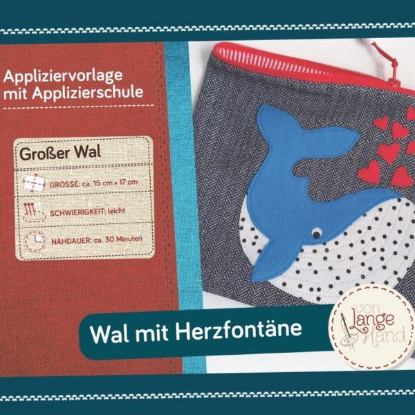Titelseite Applikationsvorlage Wal mit Herzfontäne