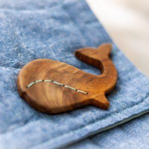 Knopf aus Holz – Wal zum Annähen