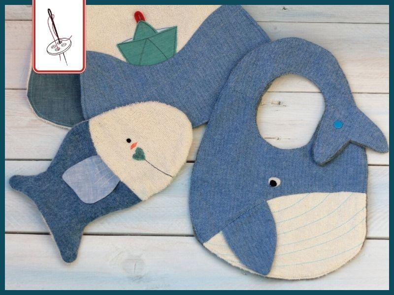 """Waschhandschuh-Fisch, Wal-Lätzchen und Schiffchen-Schultertuch aus dem Buch """"Baby ahoi. Mein Nähbegleiter für die Schwangerschaft""""."""
