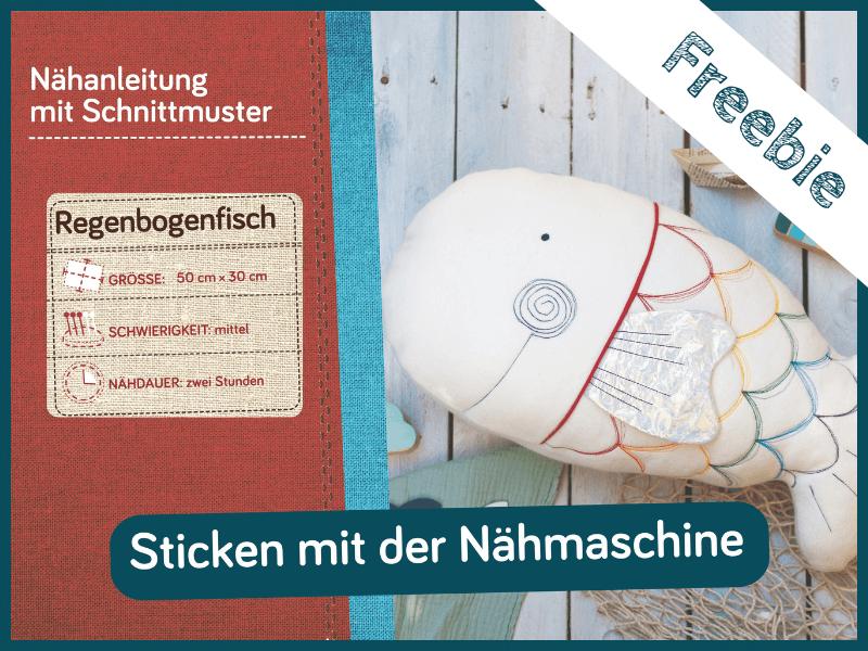 DIY Regenbogen Fischkissen Schnittmuster und Naehanleitung