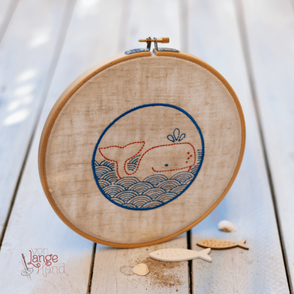 Stickdatei Bullauge mit Wal