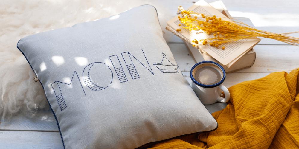 Sticken mit der Naehmaschine – maritimes Kissen