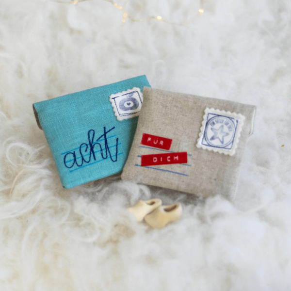 genähter Brief als Geschenkverpackung