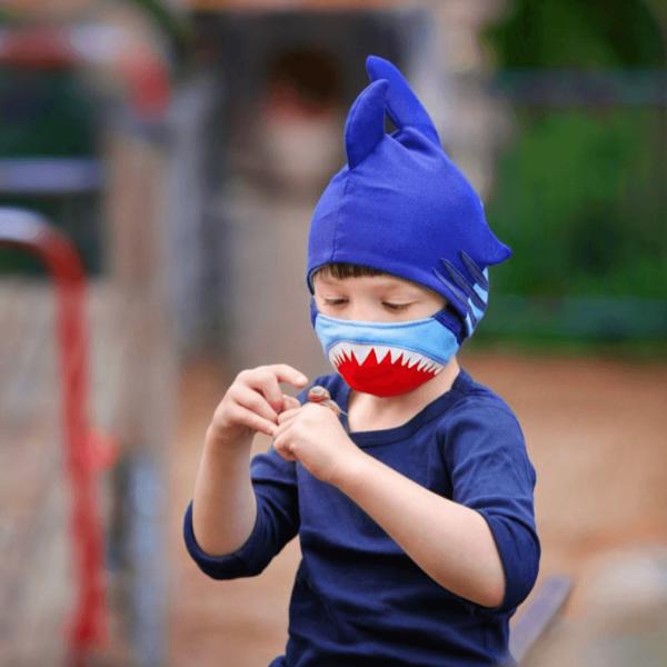 Kindermasken naehen Schnittmuster Hai