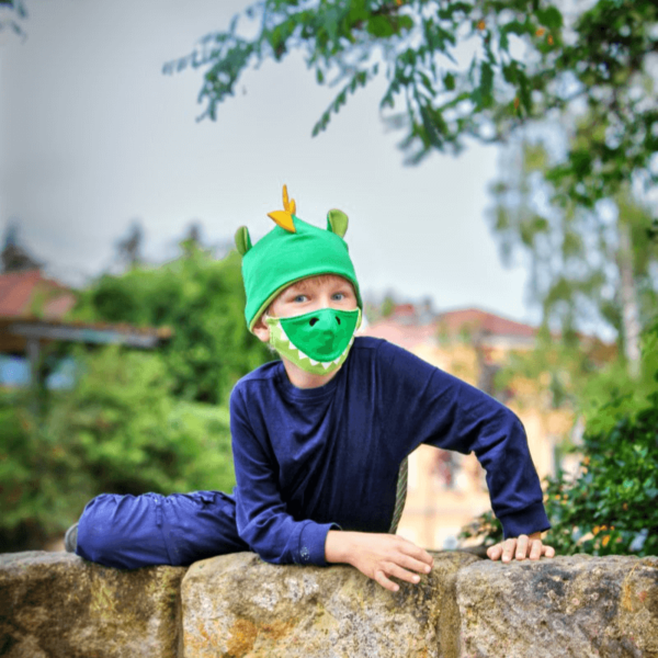 Kindermasken naehen Schnittmuster Dino
