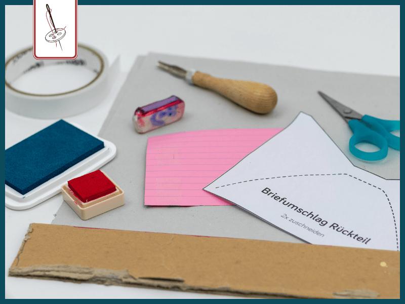 Material für einen genähten Luftpostbrief