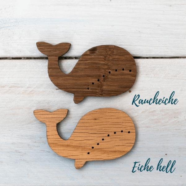 Holzknopf Wal aus verschiedenen Eichenhölzern