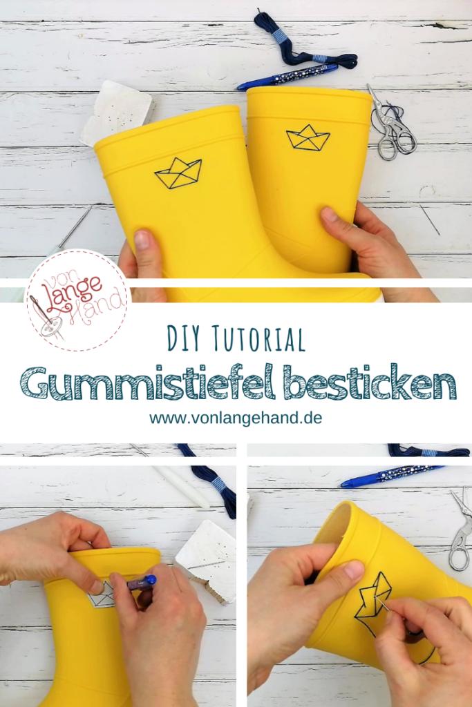 Gummistiefel mit Stick-Schiffchen Pinterest-Pin